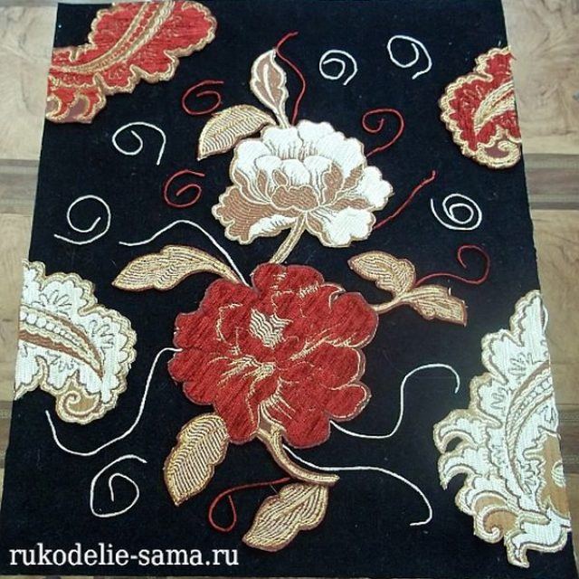 Декоративное панно: аппликация из ткани и ниток