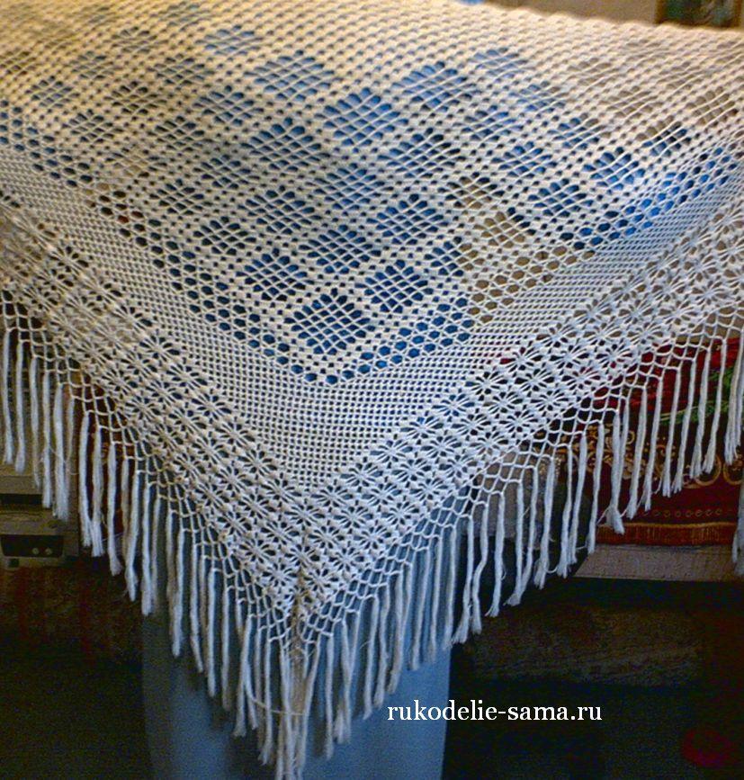 шаль филейное вязание
