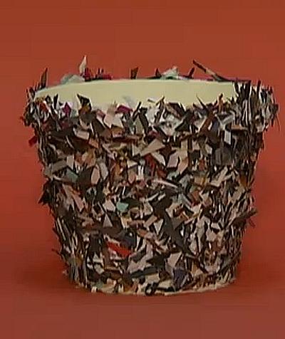декорирование цветочного горшка бумагой