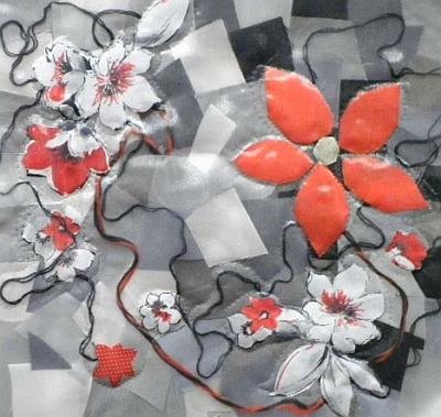 панно с цветами из лоскутков