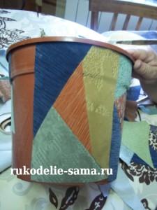 декорирование пластмассового горшка