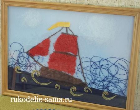 Филумика кораблик из ниток