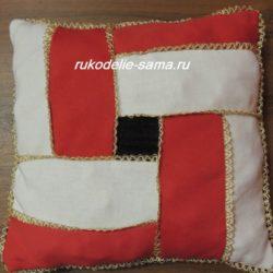 Нарядная подушка из лоскутков, стильный печворк