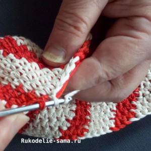 Вязание столбика основного цвета