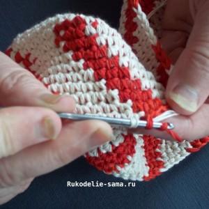 Вязание столбика без накида другого цвета