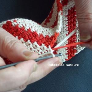 Вязание столбика без накида основного цвета
