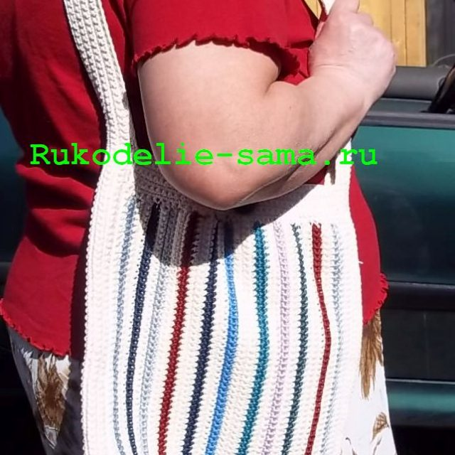 Пляжная сумка вязаная крючком