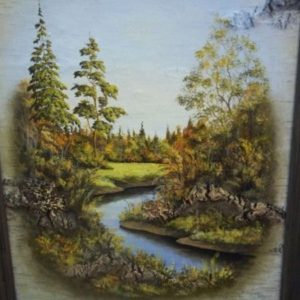 Пейзаж с рекой на бересте