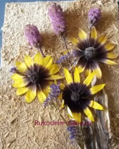 декоративное панно с сухоцветами
